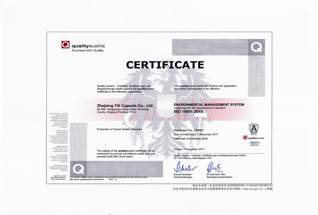 ISO14001:2015 English certification certificate